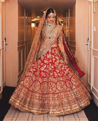 c98c387b37 Georgette Kundan Work Semi-Stitched Bridal Wedding Lehenga, Rs 40000 ...