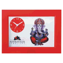 White And Red Plastic Table Clock, Shape: Rectangular