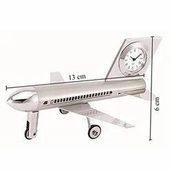 Stainless Steel Airplane Desk Clock, Shape: Aeroplane