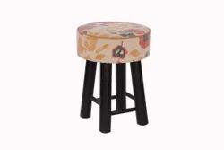 Vintage Round Upholstered Rug Designer Stool