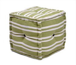 Geometric Striped Handmade Cotton Woven Square Cube Pouf