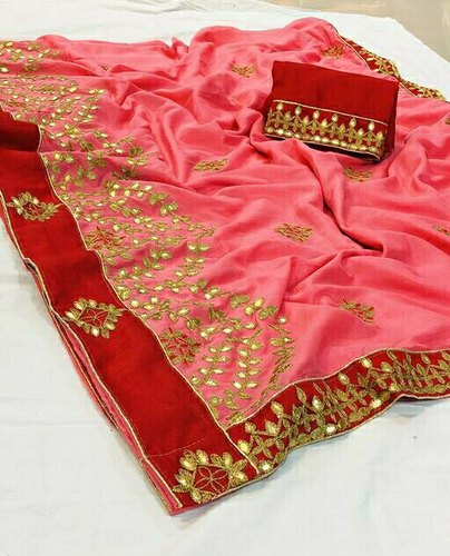 Wedding Wear Gota Work Lasies Silk Sarees, Hand Made, 5.5 m (separate blouse piece)