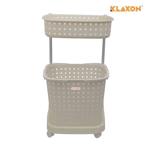 Plastic Pp White And Brown Klaxon Laundry Basket Size 325 440