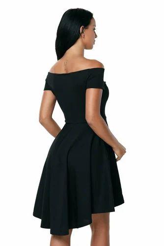 Black Plain Women Off The Shoulder Short Sleeve High Low Hem Club Cocktail Skater  Dress 2ba2e40f4