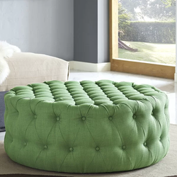 Polyester Green Large Round Pouffe Ottoman Soft Sitting
