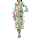 Woman Mint Green Embroidered Kurta