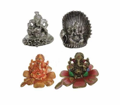 Aluminium Handecor Siddhi Vinayak Ganesha In White Metal Ganesha