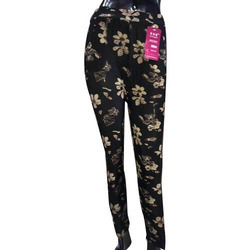 Printed Patterns Cotton And Cotton Lycra Ladies Black Printed Leggings, Size: Free Size