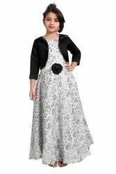 Festive Wear 3/4th Sleeves Girls Long Gown, Packaging Type: Packet