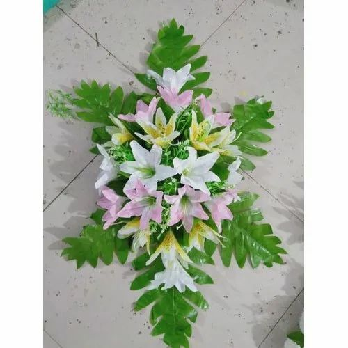 Polyester White Toded Lily Artificial Flower, For Decoration