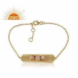 Bar Shape 18k Gold On Silver Opal Beaded Bracelet