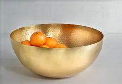 Golden Plain Copper Fruit Bowl, Size: 8 X 8 Inch, Capacity: 1 Kg