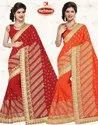 Dyed Georgette Embroidery Work Saree - Sultan
