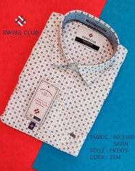 Cotton Collar Neck Swiss Club Men's Casual HD Satin Printed Shirts