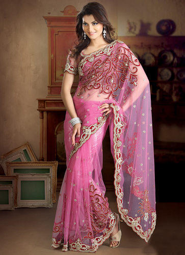 b3949adef8 Pink Party Wear Net Saree, Rs 1500 /piece, Deep Enterprises | ID ...