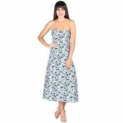 Cotton Off Shoulder Western Maxi Dress
