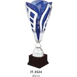 Metal Blue Silver Trophy