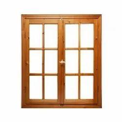 Brown Timber Wood Hinged Window, Rectangular
