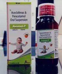 Aceclofenac 50mg, Paracetamol 125mg Syrup, AVOMOL-P SYRUP, Packaging Type: Pet Bottle