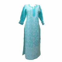 Straight 3/4th Sleeve Chikan Embroidery Kurti, Size: M-XXL, Wash Care: Machine wash