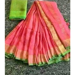 Party Wear Border Chanderi Silk Saree, 6.3 m (with blouse piece)