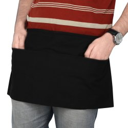 Cotton Black Waist Kitchen Apron with Pocket Set of Two