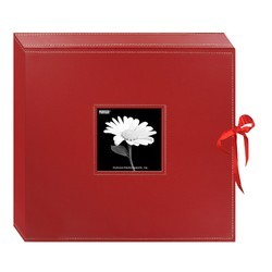 Photo Album In Red Leatherette Paper