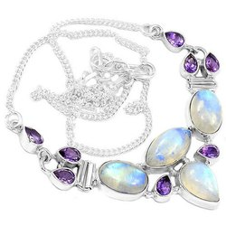 925 Sterling Silver Rainbow Moonstone with Amethyst Necklace
