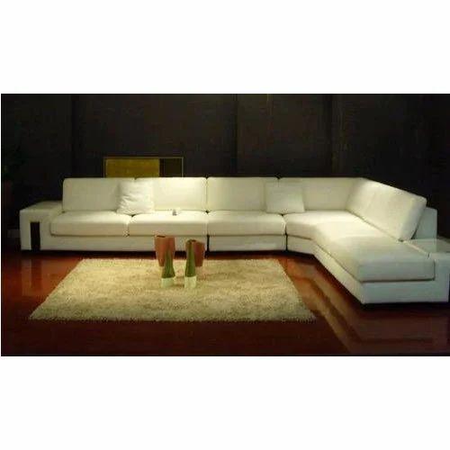 White Teak Wood Living Room L Shape Sofa Rs 52500 Piece Walnut Furnishing Gallery Id 18239071512