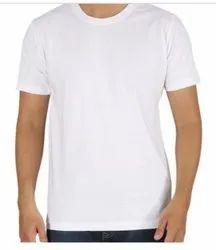 Men White poly round neck t-shirt