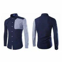Spartan Army Mens Cotton Designer Blue Shirt, Size: M, L and XL