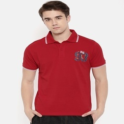 Printed Collar Red Polo