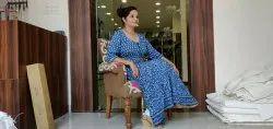 Cotton Hand Block Printed Indigo Blue Dress