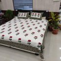 Red Ross Floral Cotton Double Bed Sheet Block Printed With Pillow