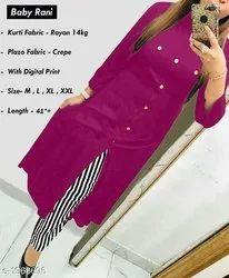 Ladies Rayon Kurti Palazzo Suit