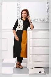 Round Neck Cotton Designer Fancy Kurti, Handwash
