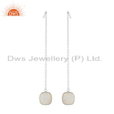 Women White Fine Sterling Silver Rainbow Moonstone Longing Chain Drop Earring