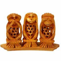 3 Net Jali Wooden Monkey Set