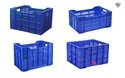 Blue Rectangular And Square Fruits And Vegetable Crates