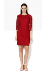 Casual Wear Cut Work Van Heusen Red Dress, Length (inches): Thigh-length