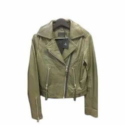 Full Sleeve Olive Green Pure Leather Biker Jacket, Size: S-xxl