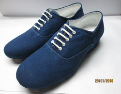Men's Modern Shoes Canvas / Silk Heel Lace-up Low Heel Non Customizable Dance Shoes Black / Indoor