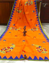 Aplik And Embroidery Work on Cotton Saree with Blouse Piece