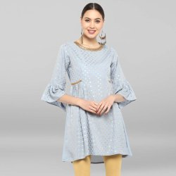 Grey Poly Crepe Short Flared Kurta
