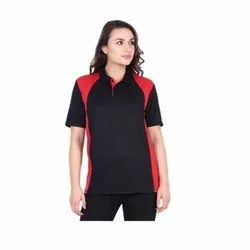 UB-D-Tee-08 Black & Red Designer Polo T-Shirt For Female