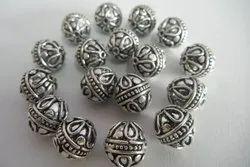 Silver Long Bali Beads