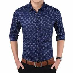 Printed Blue Mens Casual Shirt