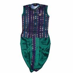 Green Brocade And Dupion Silk Kids Dhoti Jacket