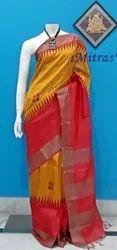 Mitras' Party Wear Block Printed Zari Border Tussar Silk Saree With Blouse Piece