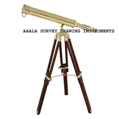 Aala Brass Polished Telescope With Wooden Tripod